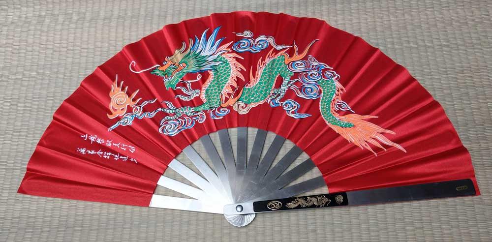 Wachlarz do Kung Fu - Dragon design Red