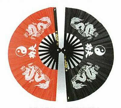 Wachlarz do Kung Fu - Dragon with Ying Yang design black